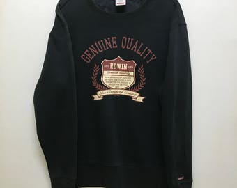 Rare!!! Edwin Sweatshirt Spellout Big Logo Pullover Hip Hop