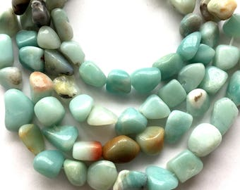 "Natural Blue Peruvian Opal Nugget Freeform Beads - 7"" strand"