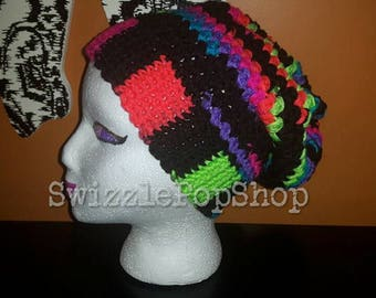 READY TO SHIP neon stripes slouchy hat