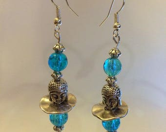 Earrings zen Buddha heads