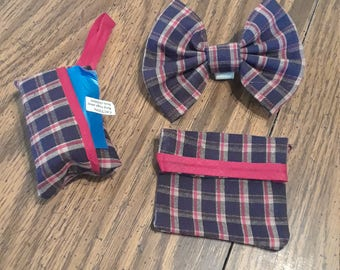Medium doggie bow with poop pick up bag and training doggie treat bag