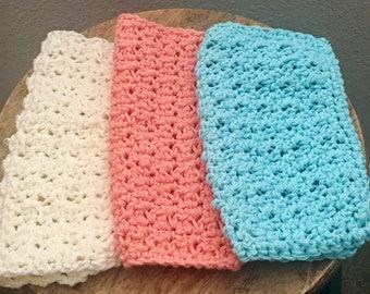 washcloth set/ crochet washcloths/ dishcloths/ Mother's Day gift/ spa gift/ Eco friendly