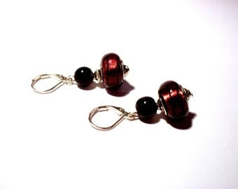 Vintage earrings 925 sterling silver, black striped purple beads