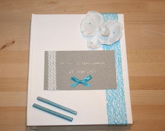grey white wedding guest book and turquoise customizable Orchid