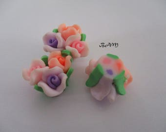 BOUQUET of flowers drilled 15mm purple, pink and orange soft