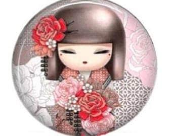 kokeshi (yumiko) kimidoll cabochon, 25mm