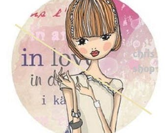 """cabochon 18mm, woman """"in love"""""""