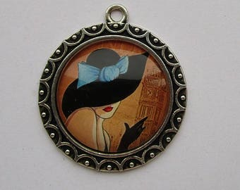 support + woman vintage cabochon, 25mm