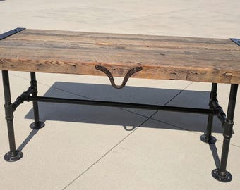 200 year old barn wood with black pipe coffee table
