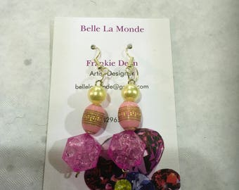Acrylic and faux pearl drop earrings silver plated wire