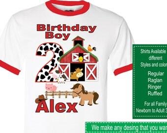 Farm Animals Birthday Shirt/Farm Stickers/Farm Animals Invitations/Farm Animals Party Supplies/Farm Animals Party Bags/Farm Animals Labels