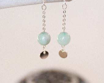 """Earrings """"Sanya"""" / Jade & silver plated"""