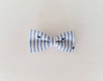 "Barrette large bow tie ""Stripes and Navy hearts"""