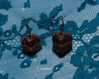 Caramel chocolate cake earring