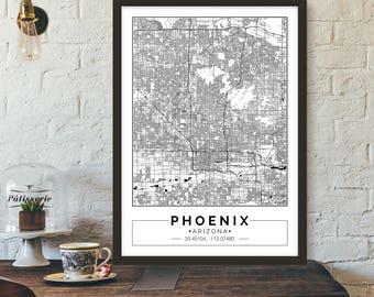 Phoenix, Arizona, City map, Poster, Printable, Print, Street map, Wall art
