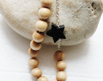 Necklace natural pearls, Black Star