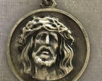 Vintage Sterling Relief of Jesus Pendant Necklace