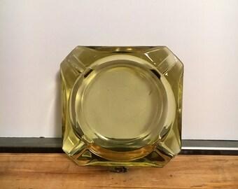 Vintage Ashtray Yellow Glass