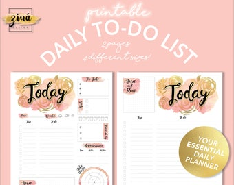To Do List | To Do List Printable | Planner | Printable Planner | Daily Planner |  Printable PDF | Floral | Watercolor