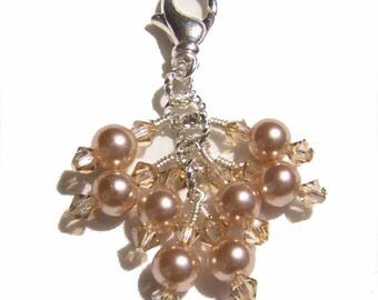 Champagne Pearl Crystal Beaded Zipper Pull Pendant