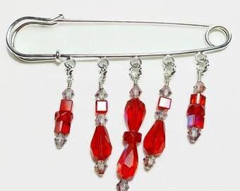 Ruby Red Crystal Beaded Shawl Brooch Kilt Pin