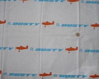 "White cotton fabric child's theme ""PLANES / DUSTY / planes"""