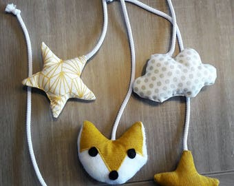 """Set of """"Fox and Star"""" mustard yellow and taupe"""