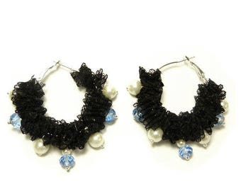 Earrings Creole Black Lace pearls and faceted blue