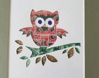 Postage Stamp Collage - Owl