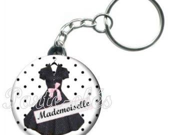 1 Keychain badge dress fashion Miss tone blanc et noir