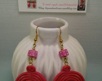 #54 # earrings with small rose from polymer
