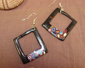 """Earrings """"crazzy"""" square black and multicolor"""