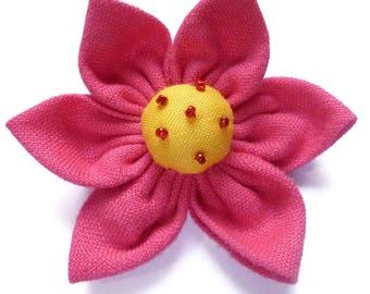 1 big flower kanzashi 7 cm pink yellow and red beads - set no. 160707018