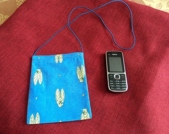 small cotton phone case with elastic to go around neck