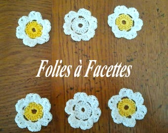 Yellow and white cotton crochet flowers