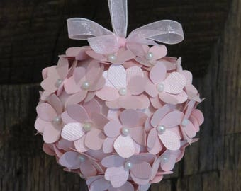 Christmas flowers hydrangea pale pink iridescent and pearl beads