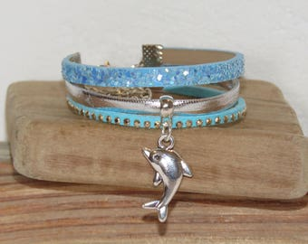 Girl Cuff Bracelet, blue, silver, glitter, leather, suede, Dolphin charm.