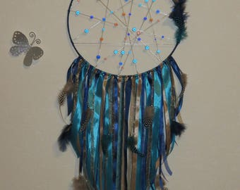Great catches dreams, turquoise, Blue Navy, café au lait, light brown, giant sequins, magic Pearl, feathers, dreamcatcher.