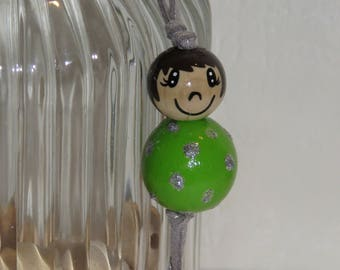 "Wood beads doll Keychain, bag charm, ""smile ball"" entirely handpainted, personalized, Apple green color"