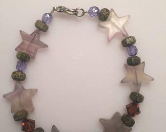 Mixed bead with fluorite stars