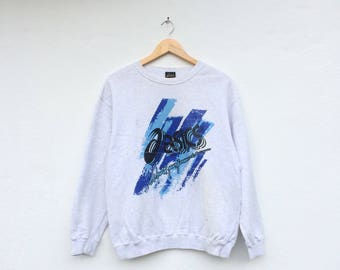 ASICS Spell Out Big Logo Abstract Colour Vintage Sweatshirt
