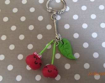 with its leaf kawaii cherry red keychain