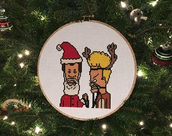 Beavis and Butthead Do Christmas Finished Cross Stitch