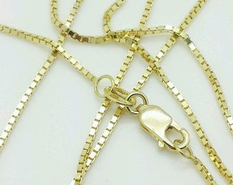 """10k Solid Yellow Gold Box Link Necklace Pendant Chain 16"""" - 30"""" 1.0mm"""