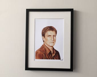 "Malcolm ""Mal"" Reynolds, Serenity, Nathan Fillion, Fan Art Print of Gouache Painting"