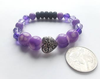 Aromatherapy Lava Stone Diffuser Bracelet Filigree Heart and Violet Watercolor Beading