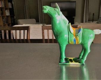 Vintage Majolica Ceramic Tang Sancai War Horse Figurine - Green Horse Statue