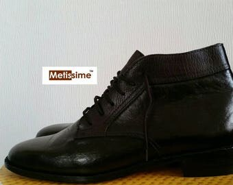 Boots leather man made heel 3 cm