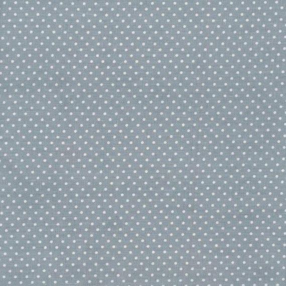 toile cir e bleu gris motif petits pois blanc pour confection. Black Bedroom Furniture Sets. Home Design Ideas