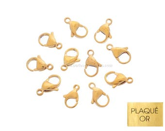 Gold plated 18K - 10mm or 12mm - 10 or 100 clasps
